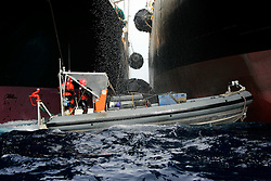 SOUTHERN OCEAN ESPERANZA 22JAN08 - Greenpeace inflatable boat tries to prevent Japanese whaling fleet's factory ship Nisshin Maru from refuelling from the supply vessel Oriental Bluebird  in the Southern Ocean Whale Sanctuary. The Panama-registered Oriental Bluebird is illegally operating as part of the whaling fleet in Antarctic waters...jre/Photo by Jiri Rezac..© Jiri Rezac 2008..Contact: +44 (0) 7050 110 417.Mobile:  +44 (0) 7801 337 683.Office:  +44 (0) 20 8968 9635..Email:   jiri@jirirezac.com.Web:    www.jirirezac.com..© All images Jiri Rezac 2008 - All rights reserved.