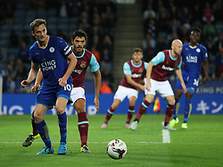 Andy King of Leicester City (L) in action  - Mandatory byline: Jack Phillips/JMP - 07966386802 - 22/09/2015 - SPORT - FOOTBALL - Leicester - King Power Stadium - Leicester City v West Ham United - Capital One Cup Round 3