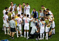 MOSCOW, RUSSIA - Wednesday, July 11, 2018: England's manager Gareth Southgate speaks to his players during half-time of extra-time during the FIFA World Cup Russia 2018 Semi-Final match between Croatia and England at the Luzhniki Stadium. (Pic by David Rawcliffe/Propaganda)