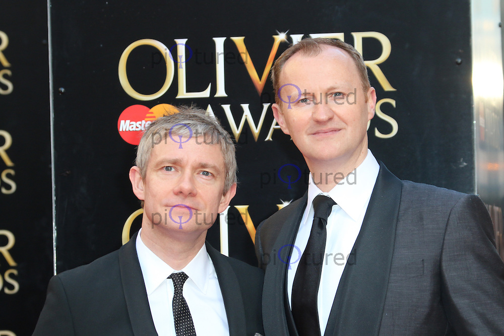Mark Gatiss; Martin Freeman, The Laurence Olivier Awards, Royal Opera House, London UK, 13 April 2014, Photo by Richard Goldschmidt