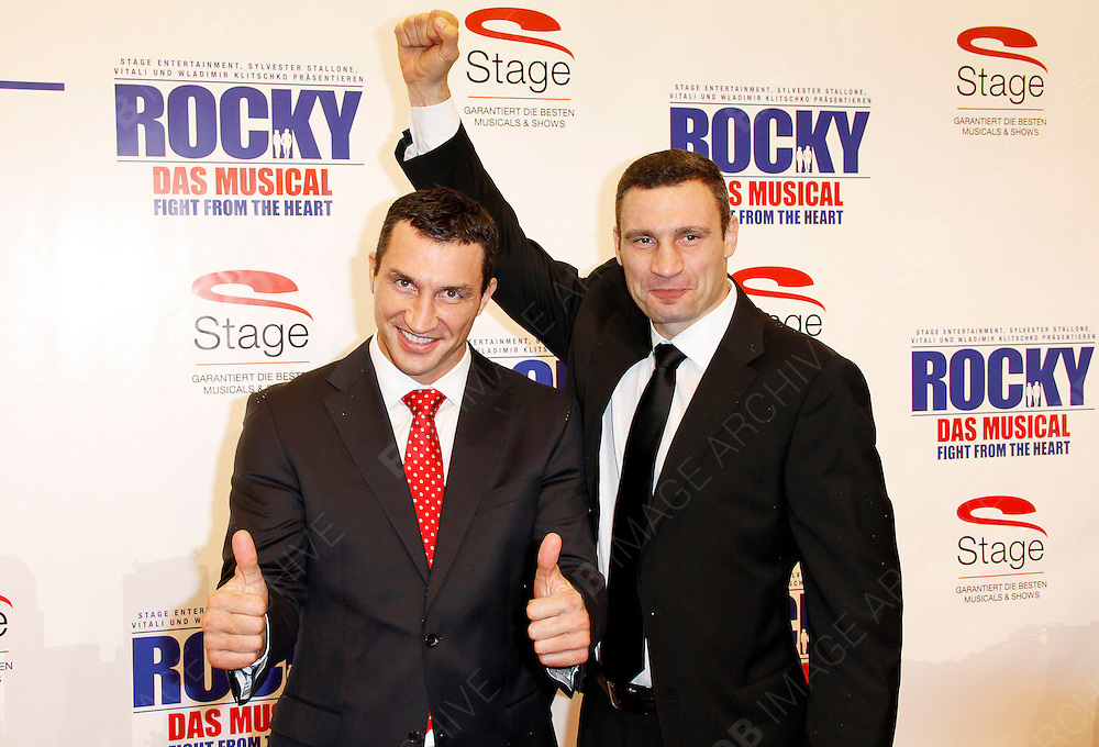 18.NOVEMBER.2012. HAMBURG<br /> <br /> SYLVESTER STALLONE WITH VLADIMIR AND VITALI KLITSCHKO ATTENDING THE ROCKY THE MUSICAL FIGHT FROM THE HEART PREMIERE HELD AT TUI OPERA, HAMBURG, GERMANY.<br /> <br /> BYLINE: EDBIMAGEARCHIVE.CO.UK<br /> <br /> *THIS IMAGE IS STRICTLY FOR UK NEWSPAPERS AND MAGAZINES ONLY*<br /> *FOR WORLD WIDE SALES AND WEB USE PLEASE CONTACT EDBIMAGEARCHIVE - 0208 954 5968*