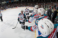 KELOWNA, CANADA - JANUARY 27: Dillon Dube #19 of the Kelowna Rockets skates past the bench celebrating a goal against the Kamloops Blazers on January 27, 2017 at Prospera Place in Kelowna, British Columbia, Canada.  (Photo by Marissa Baecker/Shoot the Breeze)  *** Local Caption ***