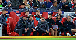 LIVERPOOL, ENGLAND - Wednesday, October 24, 2018: Liverpool's manager Jürgen Klopp, first team coach Peter Krawietz, first-team development coach Pepijn Lijnders, goalkeeping coach John Achterberg during the UEFA Champions League Group C match between Liverpool FC and FK Crvena zvezda (Red Star Belgrade) at Anfield. (Pic by David Rawcliffe/Propaganda)