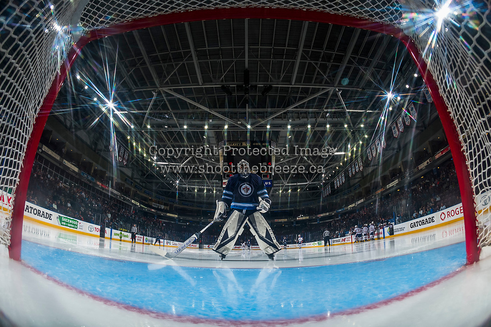 PENTICTON, CANADA - SEPTEMBER 9: Jamie Phillips #50 of Winnipeg Jets skates to the net at the start of second period against the # of Edmonton Oilers on September 9, 2017 at the South Okanagan Event Centre in Penticton, British Columbia, Canada.  (Photo by Marissa Baecker/Shoot the Breeze)  *** Local Caption ***