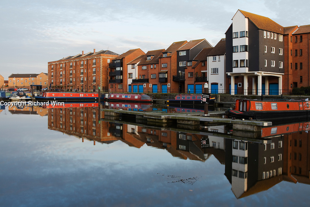 Bridgwater Quay on a calm sunny October evening, just before sunset.
