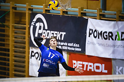 Koren Nace of Šoštanj Topolšica scoring a point on net during volleyball match between Panvita Pomgrad and Šoštanj Topolšica of 1. DOL Slovenian National Championship 2019/20, on December 14, 2019 in Osnovna šola I, Murska Sobota, Slovenia. Photo by Blaž Weindorfer / Sportida