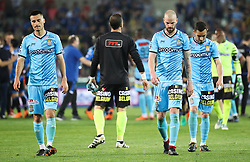 April 19, 2018 - Brugge, BELGIUM - Charleroi's Gjoko Zajkov and Charleroi's Dorian Dessoleil look dejected after the Jupiler Pro League match between Club Brugge and Sporting Charleroi, in Brugge, Thursday 19 April 2018, on day four of the Play-Off 1 of the Belgian soccer championship. BELGA PHOTO VIRGINIE LEFOUR (Credit Image: © Virginie Lefour/Belga via ZUMA Press)