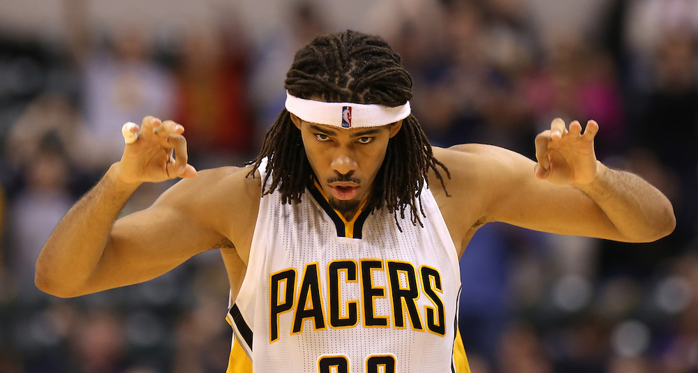 Indiana Pacers' Chris Copeland reacts after hitting a late basket against Dallas Mavericks at Bankers Life Fieldhouse Saturday October 18, 2014. The Pacers won 98-93
