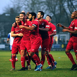 TELFORD COPYRIGHT MIKE SHERIDAN GOAL. Zak Lilly scores to make it 1-0 during the Buildbase FA Trophy 3Q fixture between Guiseley and AFC Telford United at Nethermoor Park on Saturday, November 23, 2019.<br /> <br /> Picture credit: Mike Sheridan/Ultrapress<br /> <br /> MS201920-031