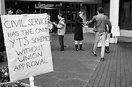 21 CPSA members within the Community Programme Branch on strike over the imposition a YTS trainee into their section explain their case to other Civil servants at the MSC HQ in Sheffield. Their demands include guaranteed employment for trainees upon successful completion of the scheme. employee status including top-up allowances and no job substitution for permanent posts 18.1.88