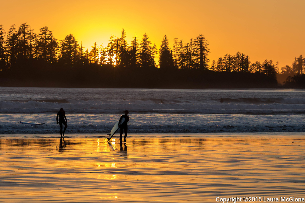 Surfers in Tofino Long Beach Vancouver Island British Columbia
