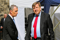 © Licensed to London News Pictures. 03/009/2019. London, UK.  NIGEL EVANS MP for Ribble Valley (L) and JOHN WHITTINGDALE MP for Maldon (R) in College Green. MPs return to Westminster for a no deal  showdown that could result in a snap election. Photo credit: Dinendra Haria/LNP