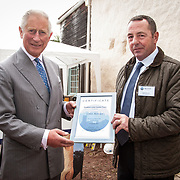 Prince of Wales, Prince Charles presents a certificate to the Scottish Lime Centre Trust's 20,000th learner, Colin Rowan. Charlestown, Fife. 08 Sep 2017. Charlestown. Credit: Photo by Tina Norris. Copyright photograph by Tina Norris. Not to be archived and reproduced without prior permission and payment. Contact Tina on 07775 593 830 info@tinanorris.co.uk  <br /> www.tinanorris.co.uk