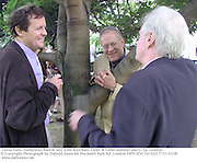 David Hare, Humphrey Burton and John Boorman. Faber & Faber summer party. Sq. London. <br />