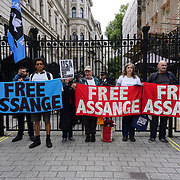 London,England,UK. 19th May 2017. Veterans For Peace UK and Friends of WikiLeaks protest to Free Julian Assange Now and against the British police threats of arrest breach of bail. Protestor say in unlawful and injustice outside Downing street. by See Li