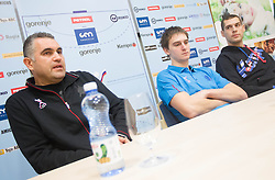 Boris Denic, Sebastian Skube and Nenad Bilbija at training camp of Slovenian Handball National team before World Cup 2013 in Spain, on December 28, 2012 in Hotel Dobrava, Zrece, Slovenia. (Photo By Vid Ponikvar / Sportida.com)