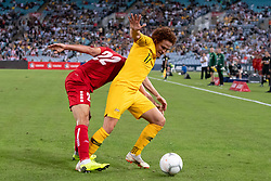 November 20, 2018 - Sydney, NSW, U.S. - SYDNEY, AUSTRALIA - NOVEMBER 20: Australian midfielder Mustafa Amini (17) and Lebanon player Bassel Jradi (22) fight for the ball at the international soccer match between Australia and Lebanon on November 20, 2018, at ANZ Stadium in NSW, Australia. (Photo by Speed Media/Icon Sportswire) (Credit Image: © Speed Media/Icon SMI via ZUMA Press)