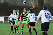 Forest Green Rovers Kayla Garland(11) heads the ball during the South West Womens Premier League match between Forest Greeen Rovers Ladies and Marine Academy Plymouth LFC at Slimbridge FC, United Kingdom on 5 November 2017. Photo by Shane Healey.