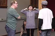 (from left) Dwight McCormick of Springfield, Kathy Roll of Dayton, Erin Welsh of Dayton and Nate Washington of Dayton during a Lofty Aspirations improv class at The Livery in the Oregon Arts District in Dayton, Wednesday, February 15, 2012.
