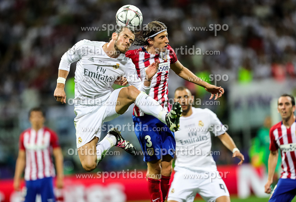 Gareth Bale of Real Madrid vs Filipe Luís of Atléticol during football match between Real Madrid (ESP) and Atlético de Madrid (ESP) in Final of UEFA Champions League 2016, on May 28, 2016 in San Siro Stadium, Milan, Italy. Photo by Vid Ponikvar / Sportida