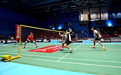 Chris Coles (Capt) of Bristol Jets and Richard Eidestedt of Bristol Jets take part in the men's doubles match - Photo mandatory by-line: Robbie Stephenson/JMP - 07/11/2016 - BADMINTON - University of Derby - Derby, England - Team Derby v Bristol Jets - AJ Bell National Badminton League
