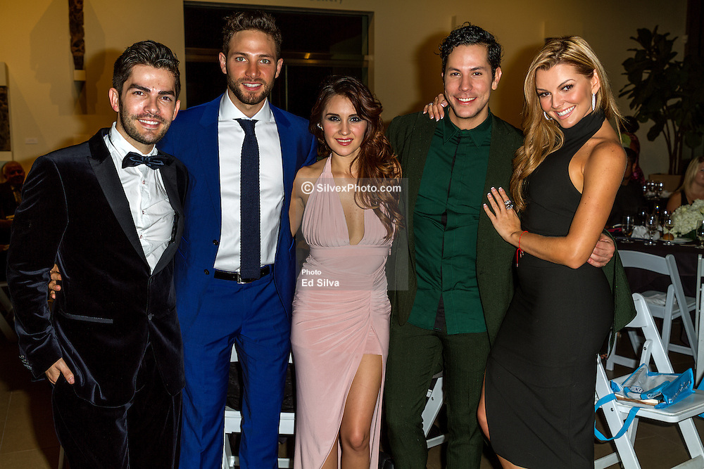 SANTA ANA, CA - OCT 10: Mexican actress and singer-songwriter Dulce Maria poses with (L-R), Francis Bertrand (ParaTodos Editor) Gabriel Coronel, Christian Chavez and Marjorie de Sousa during ParaTodos Magazine 20th Anniversary Gala at the Bower Museum on 10th of October, 2015 in Santa Ana, California. Byline, credit, TV usage, web usage or linkback must read SILVEXPHOTO.COM. Failure to byline correctly will incur double the agreed fee. Tel: +1 714 504 6870.