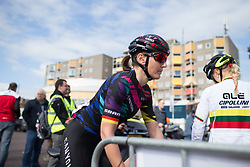 Lisa Brennauer (GER) of CANYON//SRAM Racing rides to the start of Stage 3 of the Healthy Ageing Tour - a 154.4 km road race, between  Musselkanaal and Stadskanaal on April 7, 2017, in Groeningen, Netherlands.