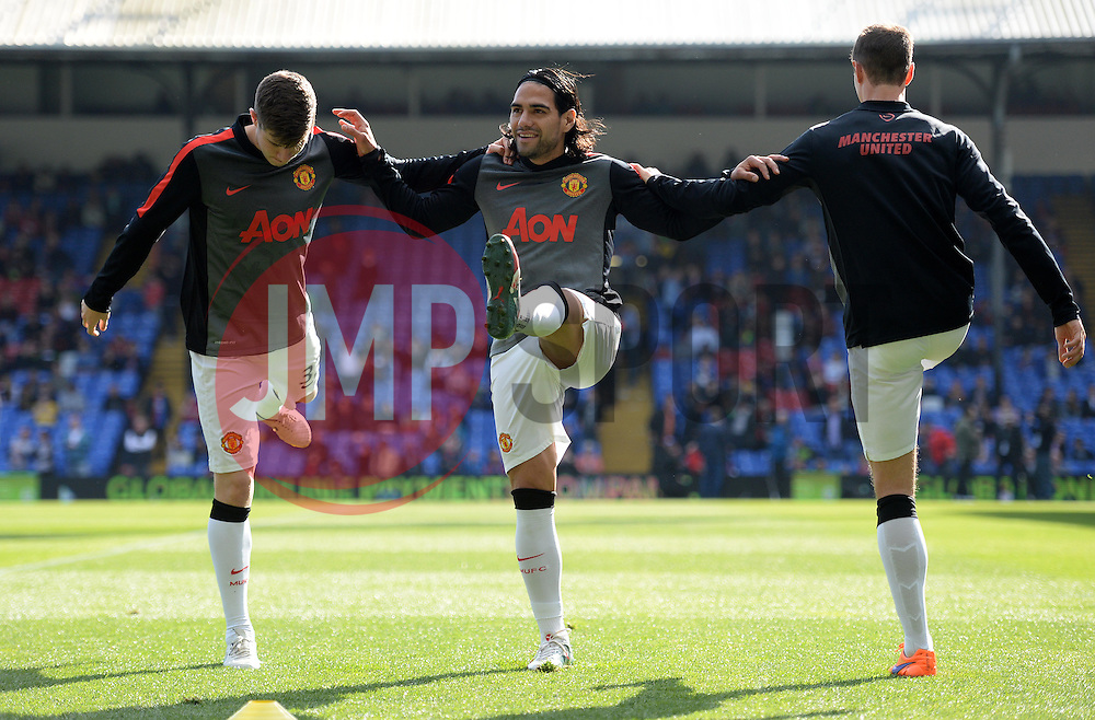 Manchester United's Radamel Falcao Garcia warms up.  - Photo mandatory by-line: Alex James/JMP - Mobile: 07966 386802 - 09/05/2015 - SPORT - Football - London - Selhurst Park - Crystal Palace v Manchester United - Barclays Premier League