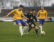 Dundee's Carlo Monti shields the ball from Cowdenbeath's Darren Brownlie - Cowdenbeath v Dundee, SPFL Championship at Central Park<br /> <br />  - &copy; David Young - www.davidyoungphoto.co.uk - email: davidyoungphoto@gmail.com