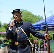 Greg Harris speaks about the Buffalo Soldiers during Juneteenth - Celebrating Freedom at First Baptist Church Saturday, June 18, 2016 in Langhorne, Pennsylvania.   (Photo by William Thomas Cain)