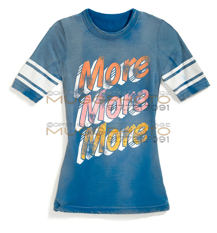 more more more faded blue t-shirt football style