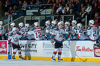 KELOWNA, CANADA -JANUARY 29: Ryan Olsen #27 and Rourke Chartier #14 of the Kelowna Rockets celebrate a goal against the Spokane Chiefs during the second period on January 29, 2014 at Prospera Place in Kelowna, British Columbia, Canada.   (Photo by Marissa Baecker/Getty Images)  *** Local Caption *** Rourke Chartier; Ryan Olsen;