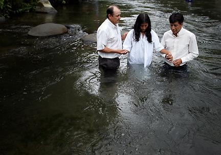Baptist Baptism in the River in Santa Marianitas, Ecuador