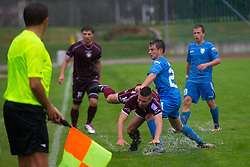 Bojan Duric of NK Triglav & Robi Jakovljevic of ND Gorica during football match between NK Triglav Kranj and ND Gorica, 7th Round of Prva Liga, on 26 August, 2012, in Sportni center, Kranj, Slovenia. (Photo by Grega Valancic / Sportida)