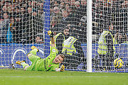 GOAL PENALTY 1-0 Chelsea midfielder Jorginho (5) (not in picture) beats Arsenal goalkeeper Bernd Leno (1) to put Chelsea in the lead during the Premier League match between Chelsea and Arsenal at Stamford Bridge, London, England on 21 January 2020.