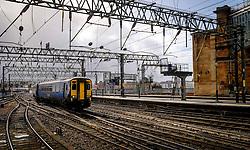 ScotRail passenger train departing from Central Station in Glasgow, Scotland<br /> <br /> (c) Andrew Wilson   Edinburgh Elite media