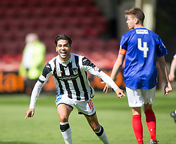Dunfermline&rsquo;s Faissal El Bahktaoui celebrates after scoring their first goal. <br /> Dunfermline 7 v 1 Cowdenbeath, SPFL Ladbrokes League Division One game played 15/8/2015 at East End Park.