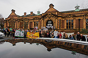 Campaigners protesting the closure by Lambeth council of Carnegie Library listen to speakers on Herne Hill, south London on 2nd April 2016. The angry local community in the south London borough have occupied their important resource for learning and social hub for the weekend. After a long campaign by locals, Lambeth have gone ahead and closed the library's doors for the last time because they say, cuts to their budget mean millions must be saved. A gym will replace the working library and while some of the 20,000 books on shelves will remain, no librarians will be present to administer it. London borough's budget cuts mean four of its 10 libraries will either close, move or be run by volunteers. (Photo by Richard Baker / In Pictures via Getty Images).