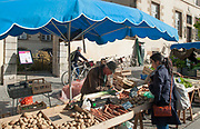 """Rennes, FRANCE. General View GV. Rennes weekly regional market. Brittany,<br /> <br /> """"Potato's and Carrots on display"""", sold from stalls in the open and covered market  <br /> <br /> Saturday  26/04/2014 <br /> <br /> © Peter SPURRIER, <br /> <br /> NIKON CORPORATION  NIKON D700  f10  1/320sec  24mm  6.1MB"""
