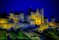 Chateau Comtal and the walls of La Cite, the medieval fortress of Carcassonne, France