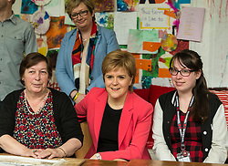 Scottish National Party leader, Nicola Sturgeon, joins Council candidates in Edinburgh to launch the SNP's manifesto for the 2017 Local Government election.<br /> <br /> Pictured: First Minister, Nicola Sturgeon with users of the WHALE Community Arts Centre