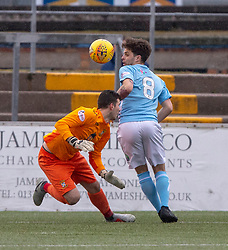 East Fife's keeper Brett Long hurt in this tackle with Forfar Athletic's Jamie Bain . Forfar Athletic 3 v 0 East Fife, Scottish Football League Division One game played 2/3/2019 at Forfar Athletic's home ground, Station Park, Forfar.