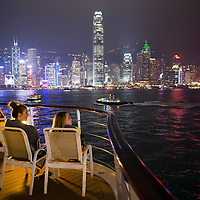 Semester at Sea voyagers enjoy their last look at Hong Kong from on board the MV Explorer during the Spring 2014 voyage.