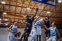 Ouedraogo  Yvan of France and Crusol  Timothé of France vs Smrekar  Klemen of Slovenia during basketball match between National teams of Slovenia and France in the Group Phase C of FIBA U18 European Championship 2019, on July 27, 2019 in Nea Ionia Hall, Volos, Greece. Photo by Vid Ponikvar / Sportida