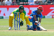 Najibullah Zadran of Afghanistan plays a scoop shot during the ICC Cricket World Cup 2019 match between Afghanistan and Australia at the Bristol County Ground, Bristol, United Kingdom on 1 June 2019.