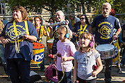 Young members of the PCS Samba band play at the TUC demo at the Conservative party conference, Manchester. 4th October 2015