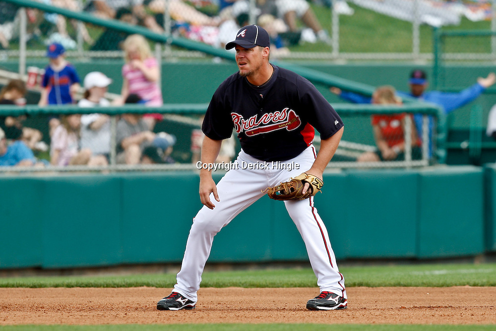 March 5, 2011; Lake Buena Vista, FL, USA; Atlanta Braves third baseman Chipper Jones (10) during a spring training exhibition game against the New York Mets at Disney Wide World of Sports complex.  Mandatory Credit: Derick E. Hingle