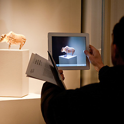 A visitor takes a picture with his ipad to a figurine of a bison made of mammoth ivory during the press preview of the 'Ice Age Art - Arrival of the modern mind' exhibition at The British Museum in London. The exhibition, curated by Jill Cook, opens in London on the 7th of February and presents masterpieces of Ice Age sculpture, ceramics, drawing and personal ornaments, created over 20,000 years ago.
