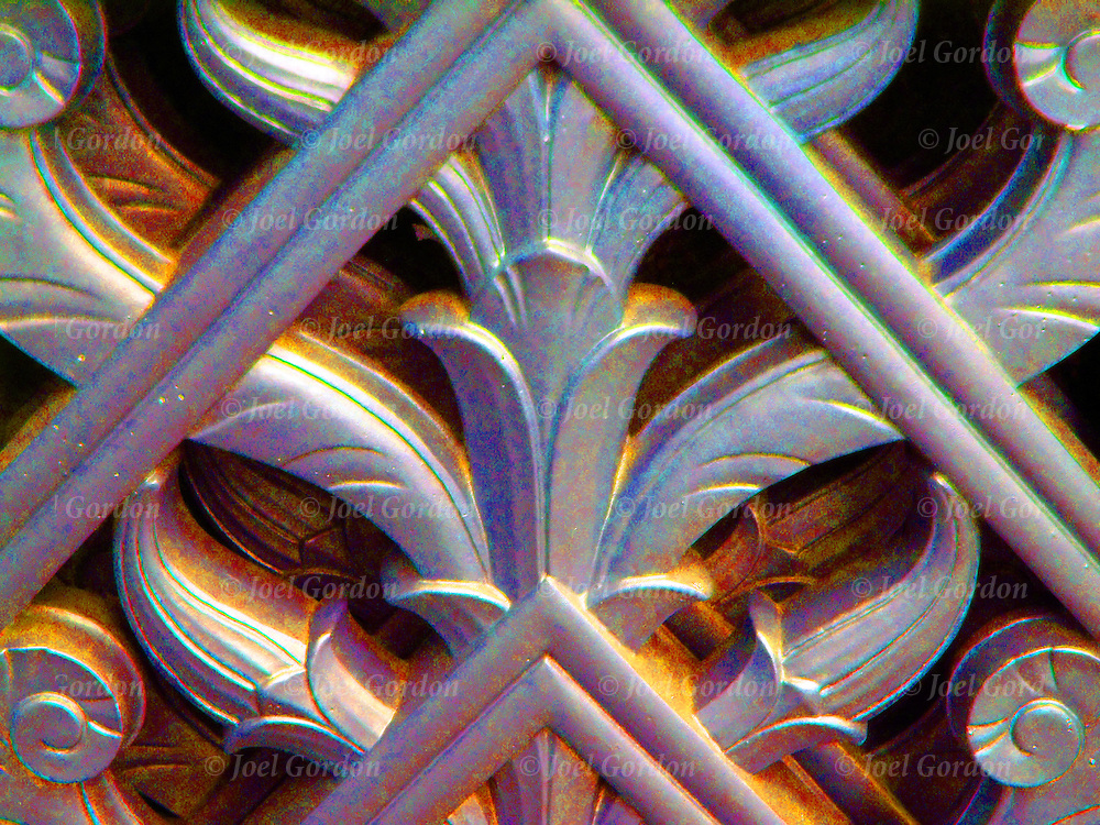 Close-up of Architecture Detail of Gate, Art Deco period in White Metal