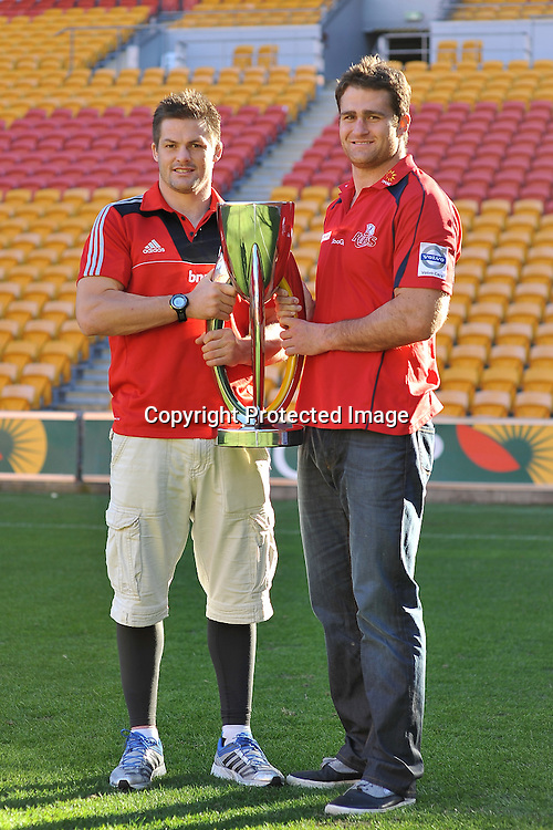 Super Rugby Captains Richie McCaw (Crusaders) and James Horwill (Reds) stand on Suncorp Stadium with the new Super Rugby Trophy ~ Thursday 7th July 2011 ~ before the Reds v Blues Super Rugby Final to be played at Suncorp Stadium on Saturday night ~ Photo : Steven Hight (AURA Images) / Photosport
